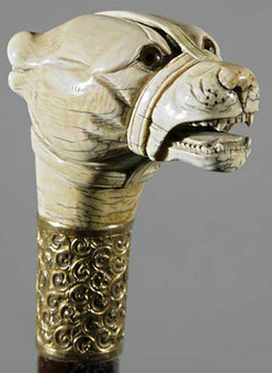 Cane Ivory Handle Dog Head Glass Eyes Gold Plated
