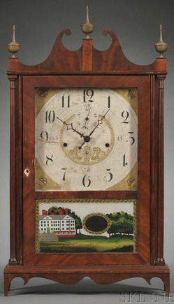Shelf Clock Seth Thomas Pillar Amp Scroll Off Center 30 Hour Time Amp Strike Movement Eglomise
