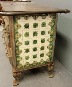 Stove; Belgian, Wood, Cast Iron, Green, Rose & Ivory Tiles, 49 inch.