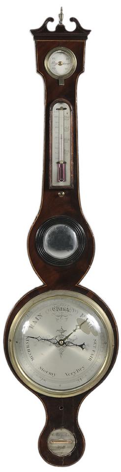 A. Maspoli & Co. signed George III inlaid mahogany barometer