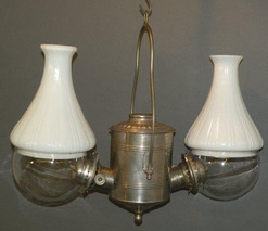Hanging Lamp American Angle Lamp Co Double Arm Clear