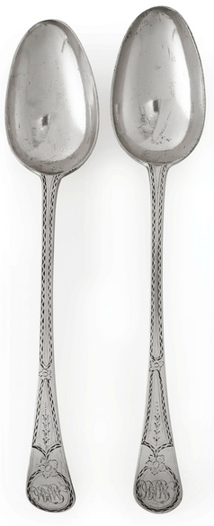 Two American silver serving Spoons, Paul Revere, Jr. Boston, 1786.