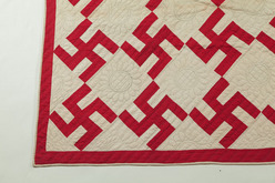 Quilt; American, Pieced, Fly Foot or Swastika, Red & White ... : swastika quilt - Adamdwight.com