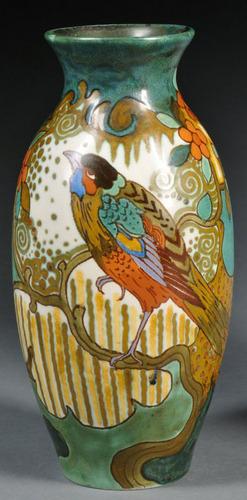 Gouda Pottery Vase Pzh Golden Ete Pattern Bird On Branch Semi
