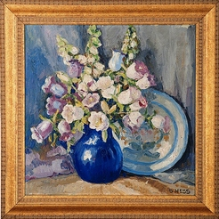 Hess Sara Mae Oil On Board Painting Signed Floral
