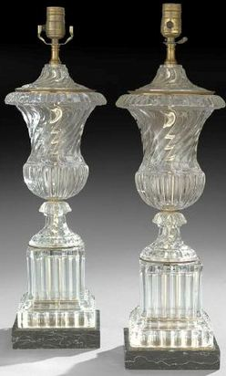Table Lamp 2 Baccarat Glass Crystal Swirl Urn Form