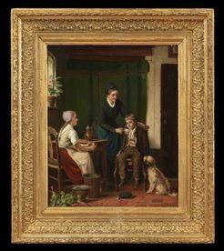 heyermans jean arnould oil on canvas painting signed genre scene interior kitchen. Black Bedroom Furniture Sets. Home Design Ideas
