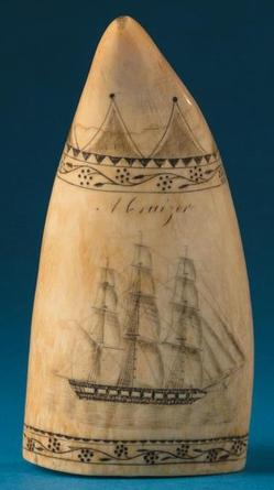 A scrimshaw whale's tooth depicting <i>A Cruizer</i> and <i>A Hard Gale</i>, attributed to Edward Burdett (1805 to 1833)