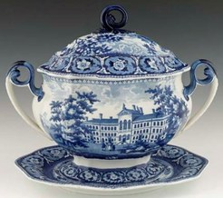 An early 19th century historical blue Staffordshire transferware decorated soup tureen and undertray, the cover and undertray with a view of the Deaf and Dumb Asylum, Connecticut and the tureen with a view of the Boston Almshouse.