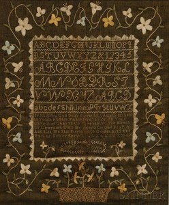 "A circa 1805 needlework sampler, ""Nabby Fowler,"" reportedly Salem, Essex County, Massachusetts"