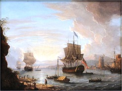 Dominic Serres, The Elder (British, French, 1722 to 1793) oil on canvas [marine] painting, An English Man-O-War Anchored in a Fortified Harbor, unsigned.