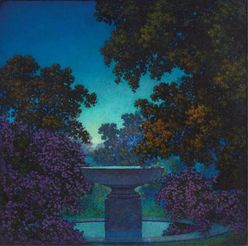 An oil on board [landscape painting], The Blue Fountain (Study for Reveries), by Maxfield Parrish, American (1870 to 1966), executed circa 1925