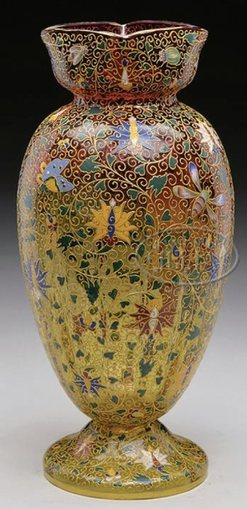 Moser Glass Vase Amberina Courtier Figure Enamel Flowers Butterflies Amp Insects 13 Inch
