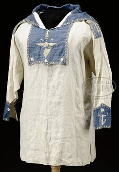 A fabulous early American silk embroidered sailor's jumper