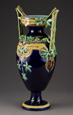 Majolica Pottery; Sarreguemines, Vase, Handled, Ivy Vines