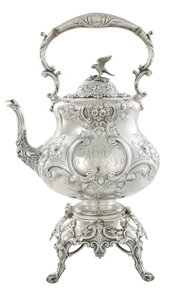 Victorian sterling silver kettle on stand, Richard Martin & Ebenezer Hall London, dated 1877, floral repousse-chased vessel with bird finial