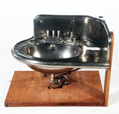 A Pullman Railroad Car Corner Sink With Hot And Cold Drain Levers, Soap  Dish And Glass Holder; Image Credit On Full Record.