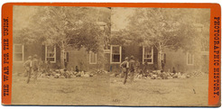 Anthony [E. & H. T. Anthony & Co] Civil War view [stereoview photograph], 2507, (Negative by Brady) Wounded at Fredericksburg, Virginia