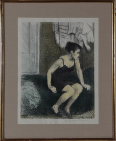 Soyer, Raphael; Lithograph, signed, Behind Screen, 18 inch.