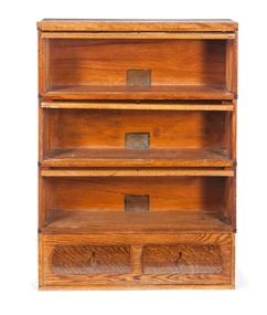 Furniture Bookcase Stacking Globe Wernicke Oak 5 Sections 3 Glazed Doors 2 Drawer Base